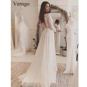 Image 2 - Verngo Boho weselny strój 2020 z długim rękawem koronkowe aplikacje szyfonowa suknia ślubna letnia plaża suknia dla panny młodej szata Mariage
