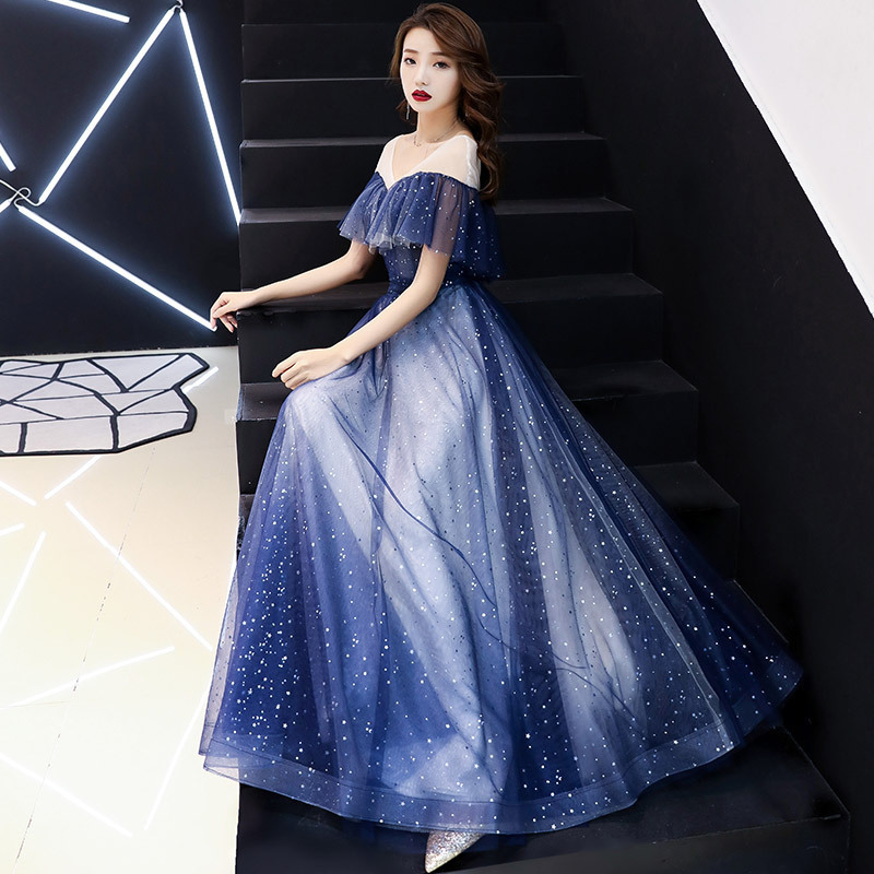 A Fairy Of Evening Dress Female 2020 Fashion Banquet Graduation Gown Students Sky Skirt Teamed Dust