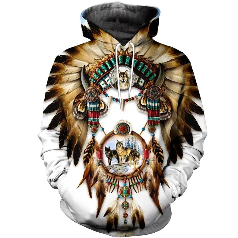 2020 Fashion Bohemia Style Hoodie Native Indian Wolf 3D Print Casual Hooded Sweatshirts Harajuku Streetwear Sudadera Hombre