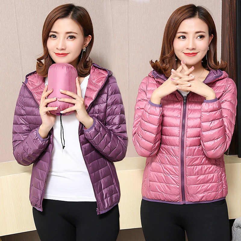 Musim Gugur Musim Dingin Wanita Ultra Ringan Jaket Bebek Turun Dua Sisi Jaket Hangat Pendek Mantel Jaket Lebih Tahan Dr Ukuran 4XL
