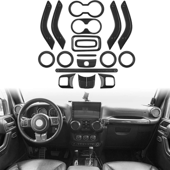 (Carbon Fiber 18Pcs) Car Decoration Steering Wheel & Center Console Air Outlet Trim for Jeep Wrangler JK JKU 2011-18