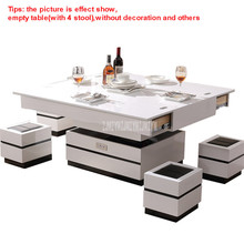 3in1 Multifunctional Living Room Lifting Liftable Combination Table Set Can Be Using As Dining/Computer/Tea Table With 4x Stool