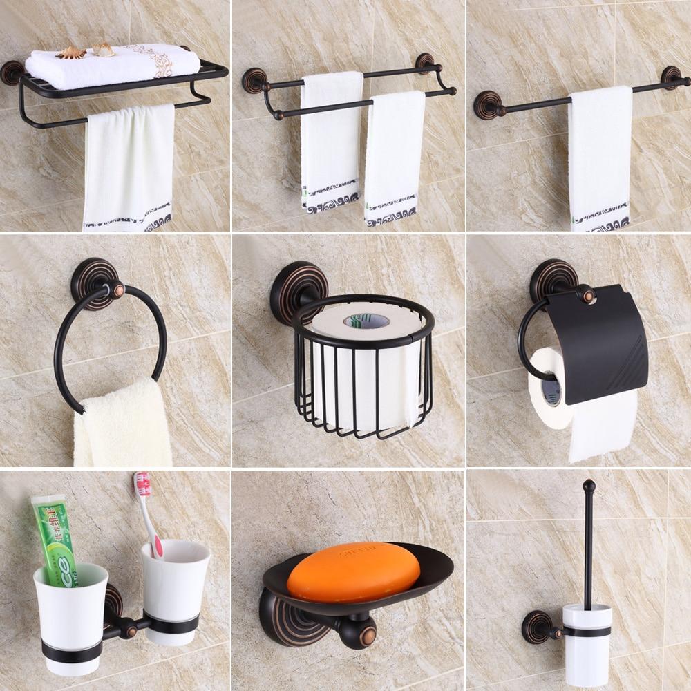Oil Rubbed Bronze Bathroom Accessories Set Towel Shelf Towel Holder Toilet Paper Holder Wall Mounted Bath Hardware Sets Bath Hardware Sets Aliexpress