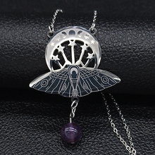Collier en acier inoxydable pour femmes, bijou de couleur argent pour femmes, accessoire de sorcière à la mode, style lune et soleil N3059S02