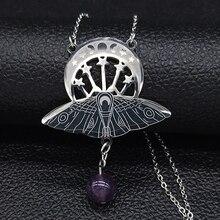 Moda bat bruxaria lua sol aço inoxidável colar de instrução feminino cor prata colar jewerly colar mujer n3059s02