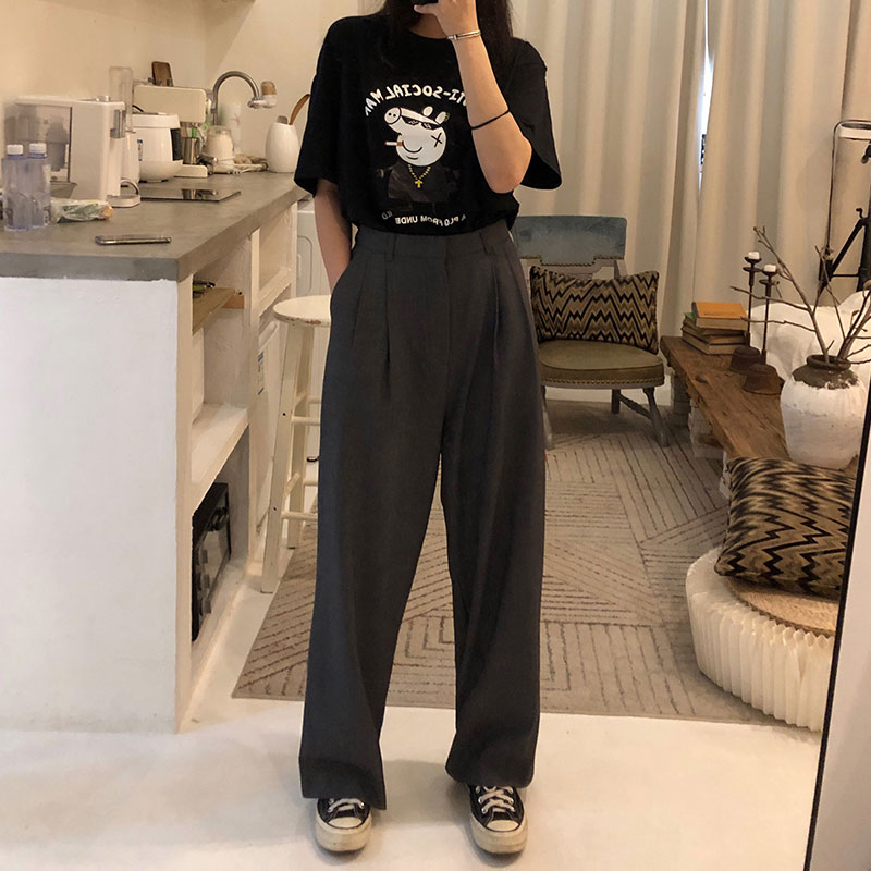 S-L 2 Colors 2019 Casual Straight Suit Pants Women High Waist Pant Office Lady Wide Leg Long Trousers Womens (X580)