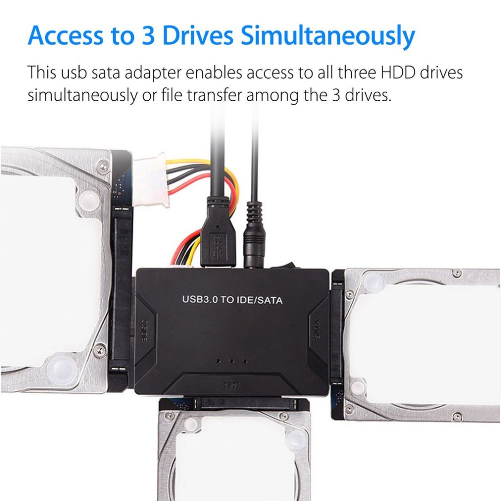 USB 3.0 To IDE/SATA Converter Super 5Gbps Transfer External Hard Drive Adapter Kit Plug & Play Support Up To 4TB Drives