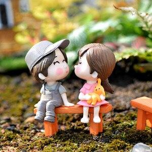 3pcs Set Bench Lovers Figurine Gnome Miniature Fairy Garden Accessory Decoration Photography Props DIY Mini Dollhouse Gift