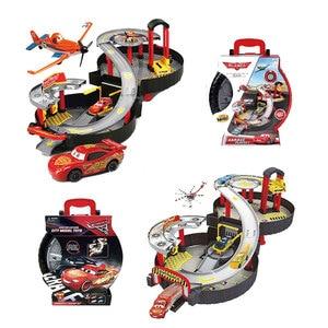 Pixar Cars 2 3 Portable child Tire parking lot 1:55 Lightning McQueen Model Alloy Rail Car Boy Assembled Eudcational Toy boytoy