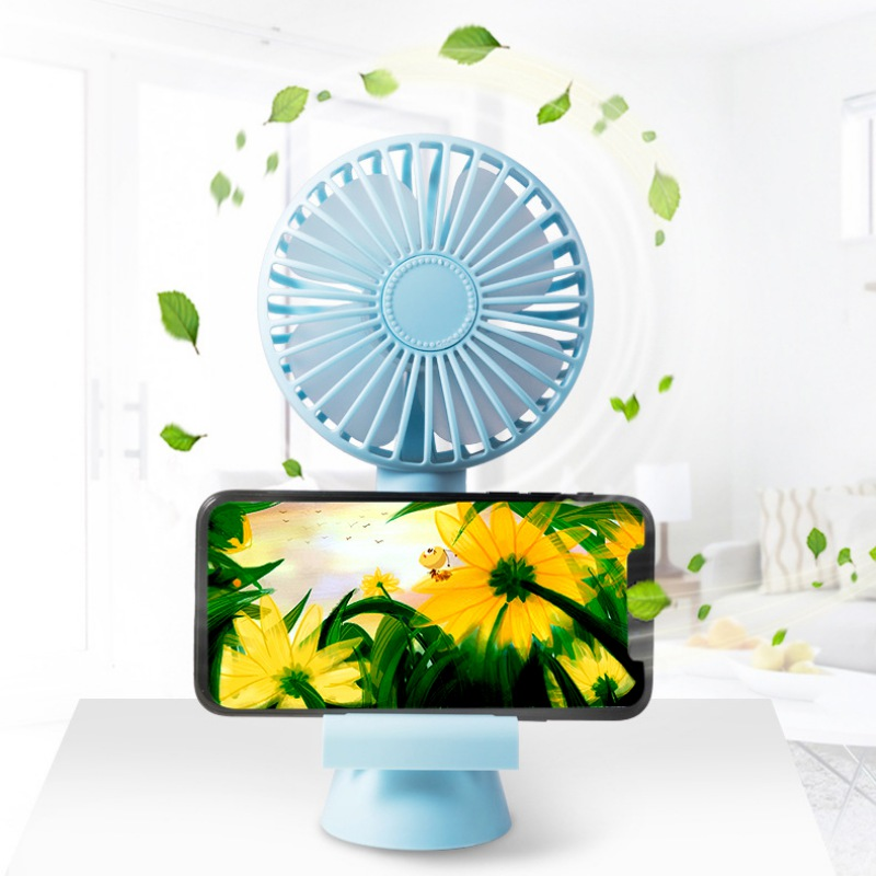 Portable Outdoor Office Fan Creative Powerful Rechargeable Cooling Fan With Mobile Phone Bracket