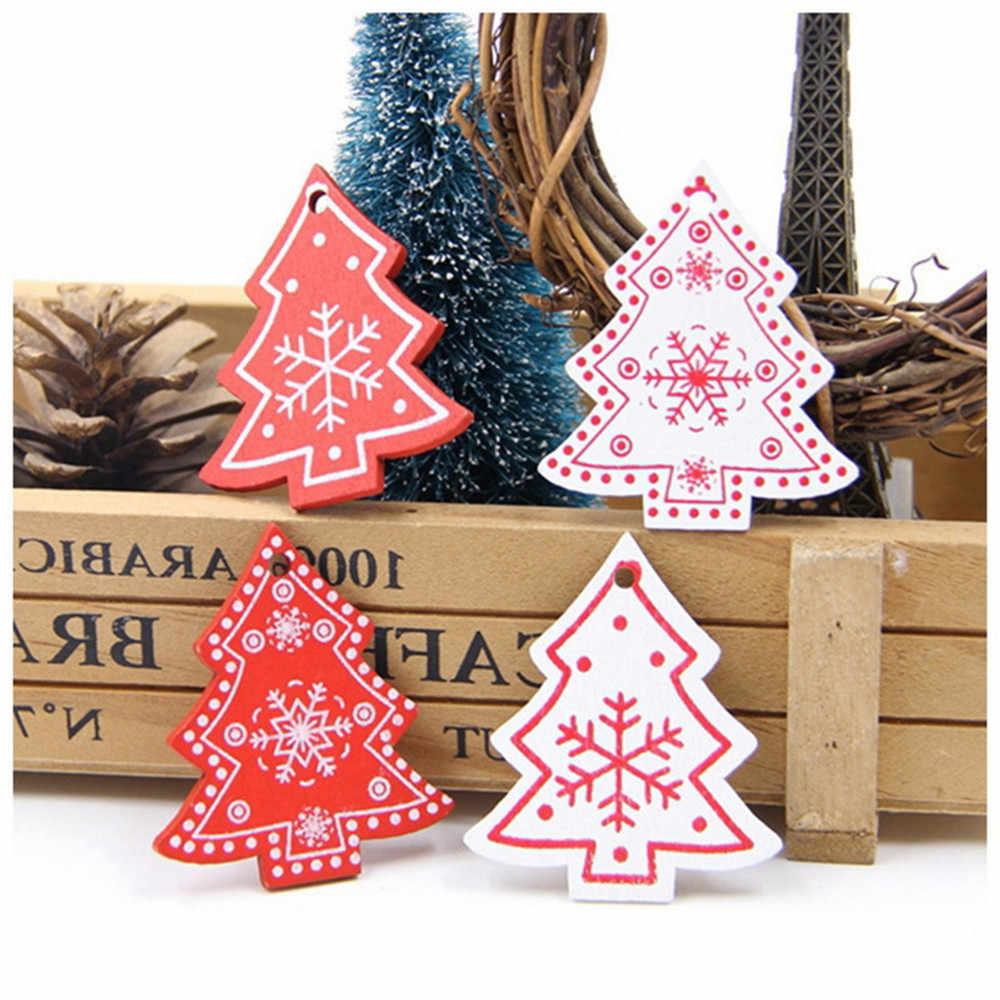 10 шт./компл. 5 см Новый год натуральное дерево рождественские украшения кулон