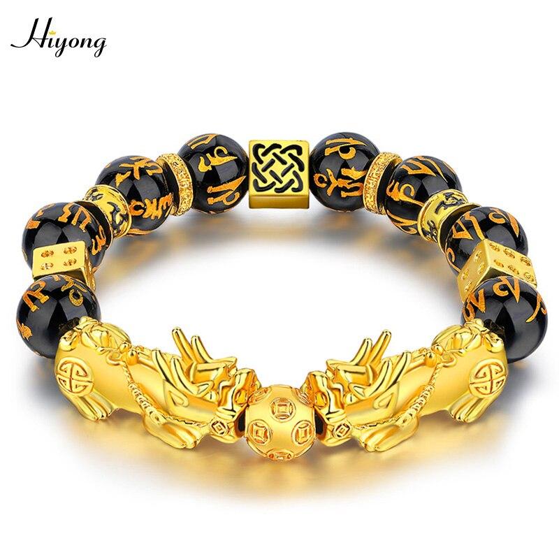 Black Obsidian Stone Beads Bracelet Pixiu Feng Shui Bracelet Gold Color Buddha Good Luck Wealth Bracelets for Women Men Jewelry(China)
