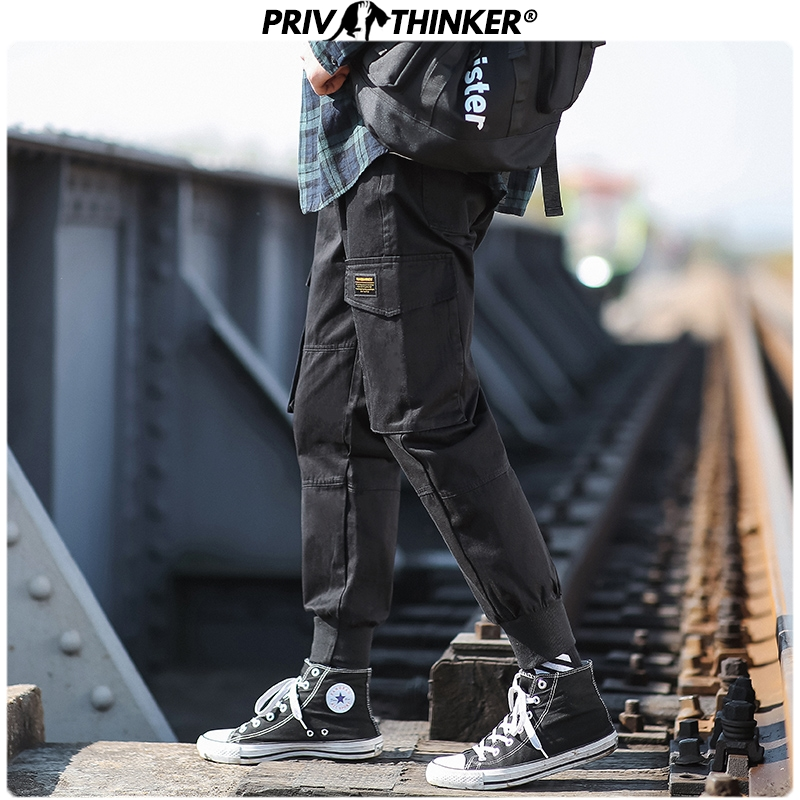 Privathinker Men Black Spring Solid 2020 Harem Pants Mens Pockets Hip Hop Loose Pants Male Streetwear Trousers Bottoms Fashions