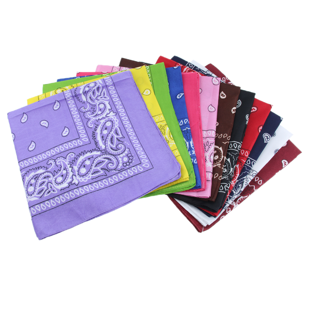 12pcs Paisley Bandana Cow Boy Girl Biker Neck Scarf Head Bandanna Mix Colour Sruare Scarf Headband 54 X 54cm