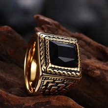 Square Black Stone Men Seal Ring Signet Gold Color Classic Wedding Band Male Rings Titanium Stainless Steel Biker Band DCR065