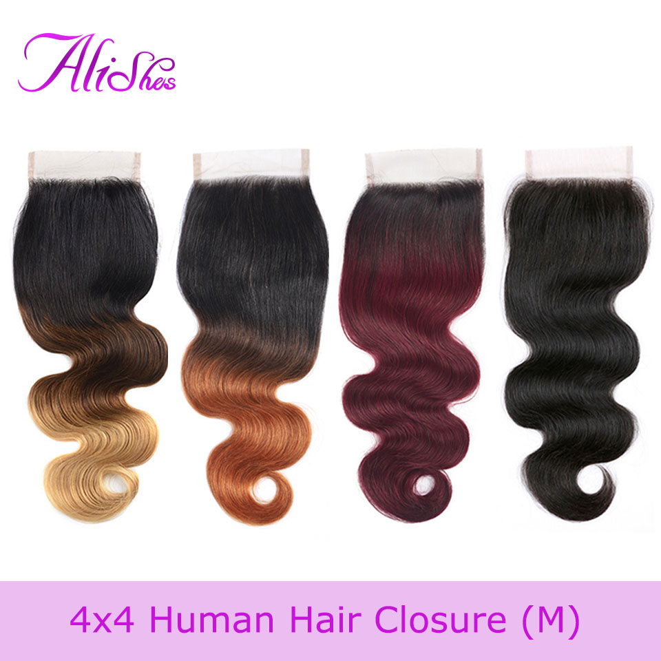 Alishes Two tone Color 1b 27 30 99j Human Hair Ombre Closure 10-20 Body Wave 4x4 Lace Closure Brazilian Remy Hair Middle/Free