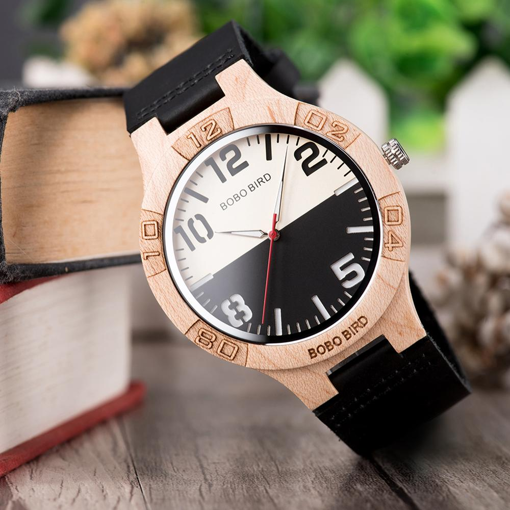 Wooden Watches BOBO BIRD Original Brand Couple Watches Genuine Leather In Gift Box Accept Customized Orologio Uomo