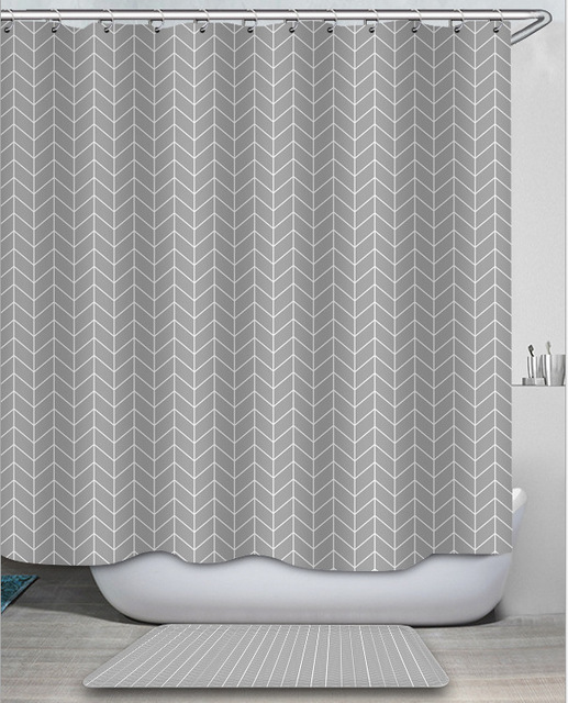 american herringbone bathroom shower curtain thickened waterproof anti moldy bath curtains polyester fabric fashion modern 2021