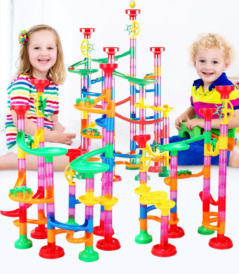 29-105pcs Set Diy Construction Marble Race Run Track Building Blocks Kids Maze Ball Roll Toys Christmas Gift