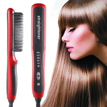 Straightening Heating Combs Men Beard Hair Straightener Ceramic Curler Professional Heated Comb Electric Hair Brush Straightener цена 2017