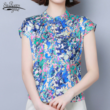 2020 Summer New Style Silk Short Sleeve Floral Blouse Women Plus Size Printed Pullover Ladi