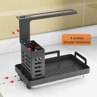 Organizador de fregadero de cocina, soporte de cepillo para jabón de esponja de acero inoxidable con bandeja de drenaje, estante de secado de cocina Premium