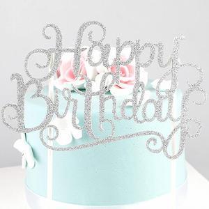 Glitter Paper Happy Birthday Cake Topper Cupcake Dessert Decoration Supplies for Birthday Party Celebration Cake Decoration