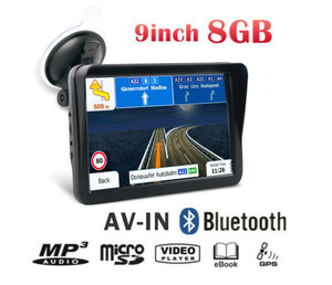 Bluetooth 9 inch car truck gps Capactive Screen with AV-IN loaded Europe map 2019