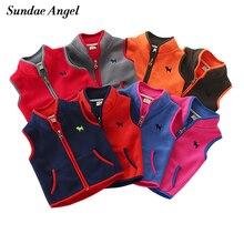 Sundae Angel/жилет для мальчиков и девочек с воротником-стойкой и вышивкой собаки; флисовый детский жилет; верхняя одежда; пальто; детские жилеты; От 2 до 7 лет