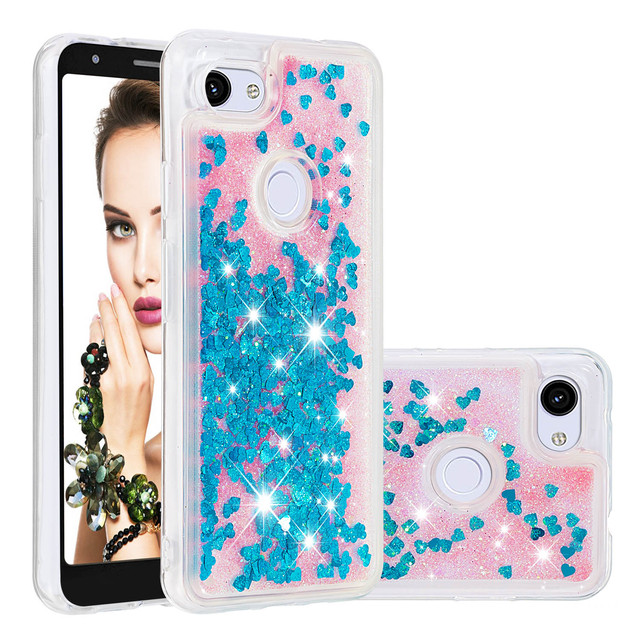 Luxe Liquid Quicksand Soft TPU Phone Case Voor Google Pixel 3a XL 3a Case Back Cover Glitter Bling Sequin Dynamische bumper Coque