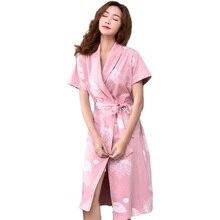 Розовое Кимоно, халат 100% хлопок женские халаты ночной новинка домашнее платье женщин, принт, женский Модный халат хлопок невесты, халат женский короткий рукав, цветочный пижамы