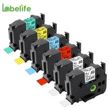 Labelife lot de 6 ensemble combiné 18mm TZe 141,241,441,541,641,741 Compatible pour Brother p touch PT P900W P950NW P700 étiqueteuse