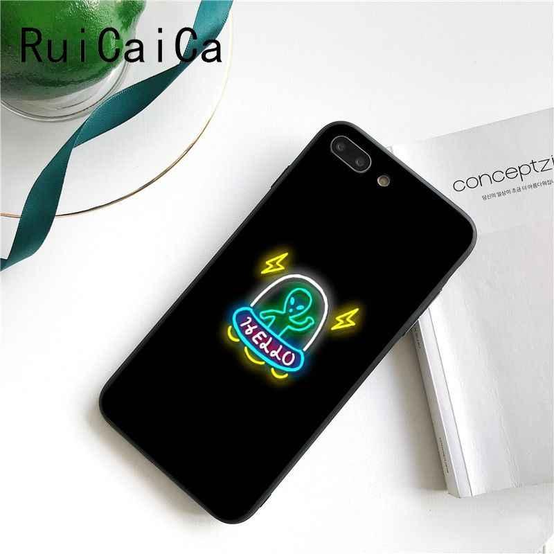 Ruicaica Nền Đen Huỳnh Quang Hoa Văn Nhỏ Phông Chữ Neon Ốp Lưng Điện Thoại Cho iPhone 8 7 6 6S X XS Max 5 5S SE XR 11 Pro Max