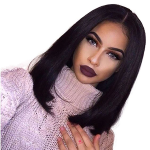 Straight lace Wig Short Bob Lace Wig Brazilian Human Hair Wigs 13x1.5 Lace in Front Middle Part For Women Human Hair Lace Wig