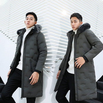 Brand Men Clothing Winter New Down Jacket Fashion Slim Hooded Thick Warm White Duck Down Long Coat and Parka Male plus size S-4X