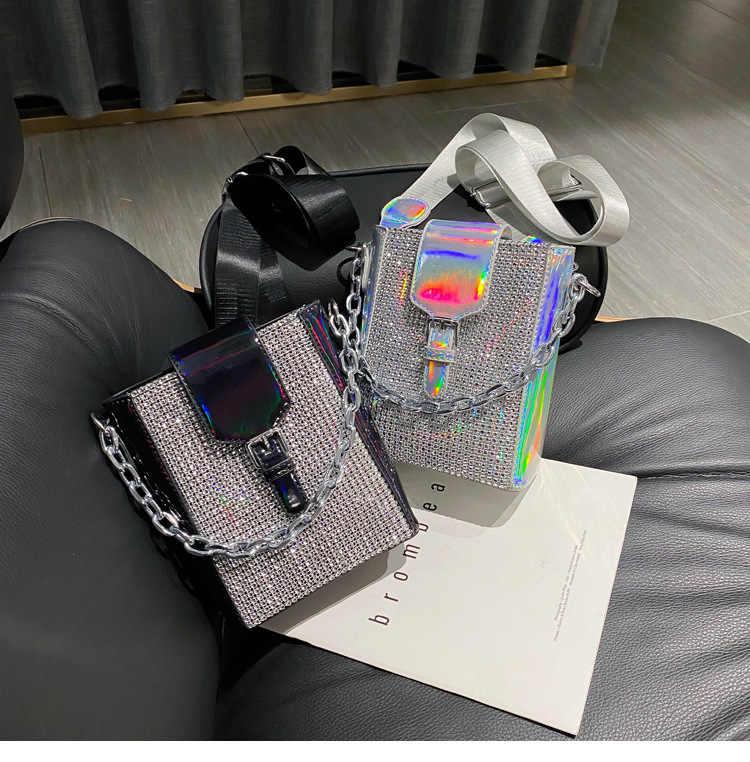 2021 Gloednieuwe Vrouwelijke Tas Shinny Strass Crossbody Bag Hoge Kwaliteit Mode Messenger Bag Voor Vrouwen Zwart/Zilver