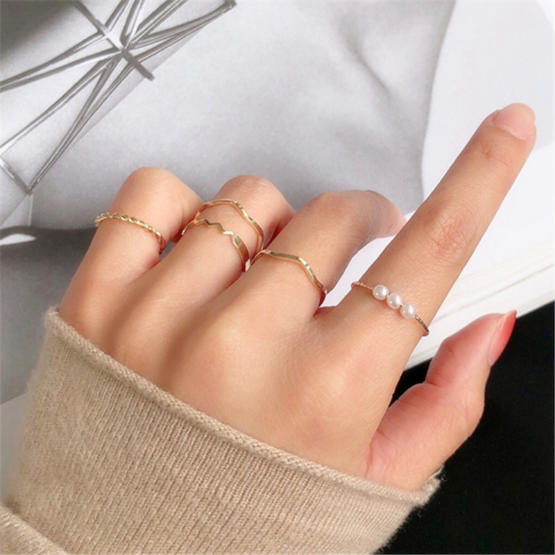 5 pcs/set Fashion Imitation Pearl Rings for Women Gold Color Round Wave Geometric Rings Set Wedding Party Jewelry New