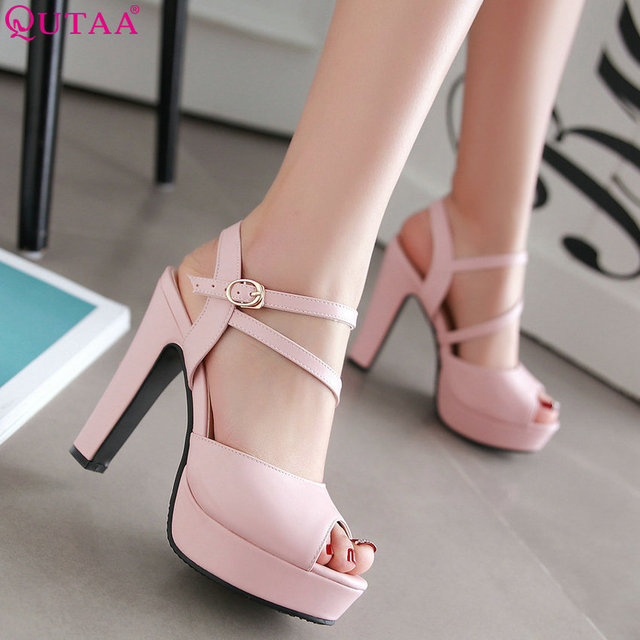 QUTAA 2020 Women Pumps Fashion Women Shoes Spring/ Autumn All Match Square High Heel Wedding Shoes Ladies Pumps Size 34-43