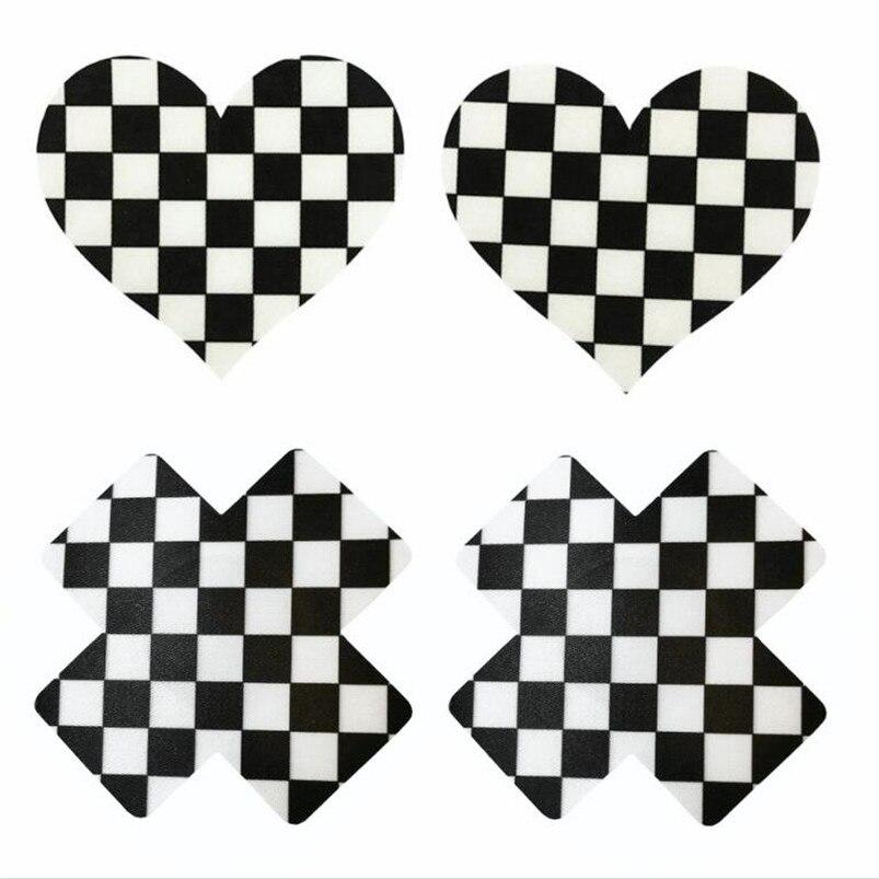 10pairs (200Pcs)/lot women Nipple Covers Plaid heart and Cross/X Breast Pasties