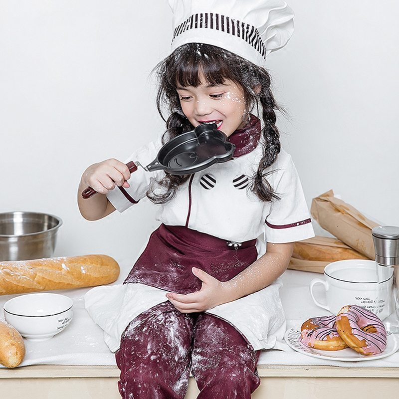 Halloween Children Cosplay Restaurant Clothing Set Performance Kids Chef Hat Cook Coat Waitress Kitchen Uniform Catering Costume
