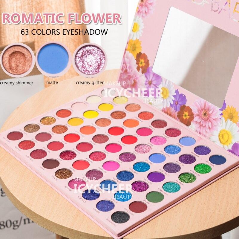 ICYCHEER 63Color Nude Shining Eyeshadow Pallete Makeup Glitter Pigmented Smoky Smooth Eye Shadow Waterproof Lasting Cosmetics