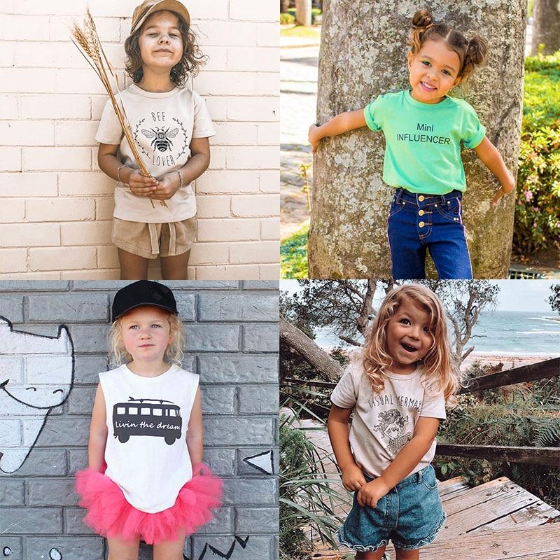 Summer Baby Girls T Shirt Cotton Letter Print Short Sleeve Kids T-shirt Girls Casual Tee Tops Boys T Shirt Children Clothes
