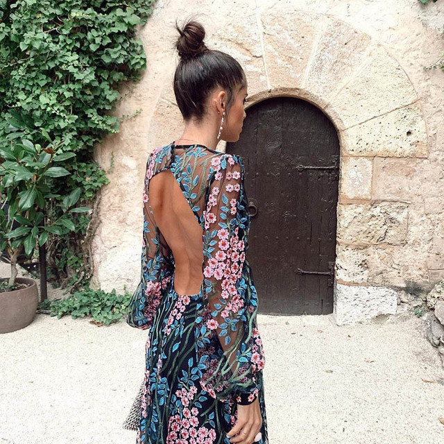 Zoctuo Sexy Backless Slim Print Dress Middle Waist O-Neck Long-Sleeved Dress Zipper Casual Wear 2020 Summer Dress Women 4