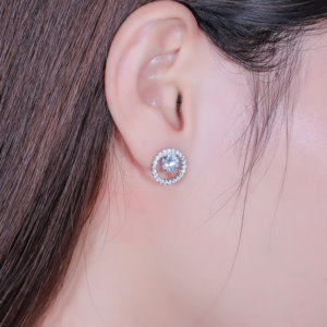 Image 5 - TransGems Solid 14K White Gold Center 1.6CTW 6mm F Color Moissanite Circle Round Stud Earrings With Accents Push Back for Women