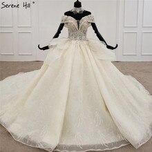 فاخر الشمبانيا الماس الخرز مثير فستان الزفاف 2020 قبالة الكتف الدانتيل يصل الراقية زي العرائس HX0081 مخصص