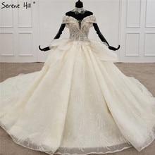 Luxe Champagne Diamant Kralen Sexy Wedding Dressees 2020 Off Shoulder Lace Up High End Bruidsjurken HX0081 Custom Made