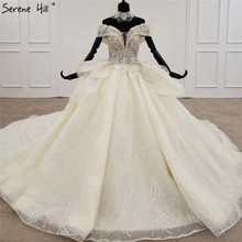 Luxury Champagne Diamond Beading Sexy Wedding Dressees 2020 Off Shoulder Lace Up High end Bridal Gowns HX0081 Custom Made