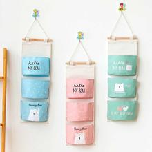 New Cartoon Bear 3 Pockets Cotton Linen Wall Hanging Storage Bags Door Pouch Bedroom Home Pocket Decors Bag