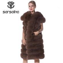 ريال فوكس الفراء سترة طويلة النساء الفراء سترة الشتاء الإناث أكمام الفراء الطبيعي موضة ملابس السيدات فروي حجم كبير 7XL 6XL 5XL