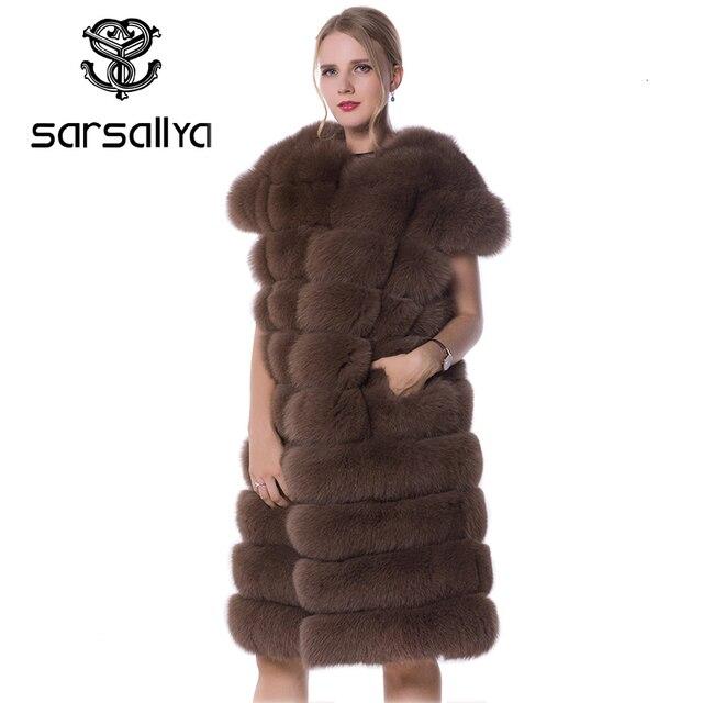 Real Fox Fur Vest Long Women Fur Vest Winter Female Sleeveless Natural Fur Fashion Ladies Clothes Furry Plus Size 7XL 6XL 5XL